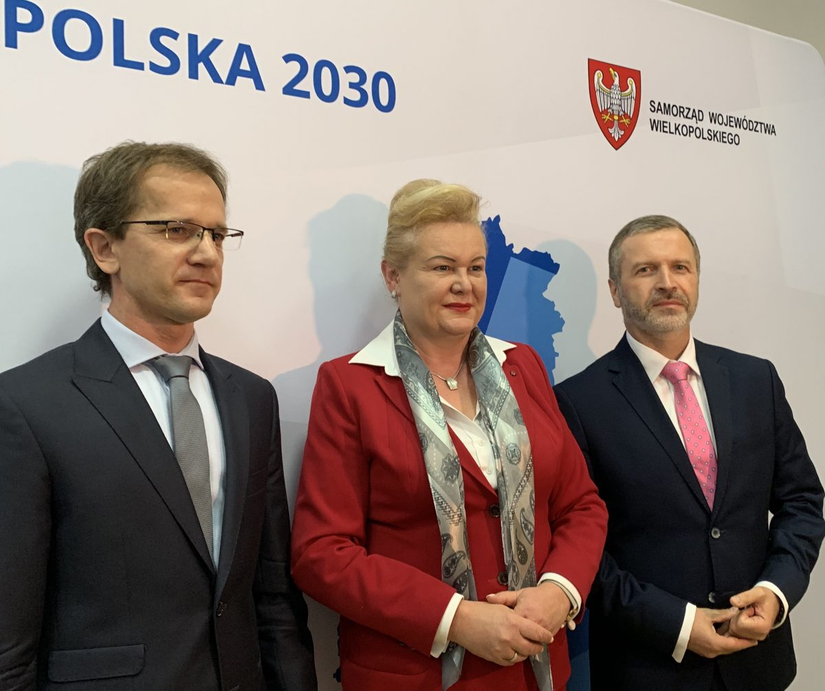 Marzena Wodzińska z Zarządu Województwa Wielkopolskiego oraz Grzegorz Potrzebowski, szef Departamentu Polityki Regionalnej UMWW