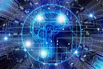 Siec neuronowa na futurystycznej grafice w odcieniu niebieskim.